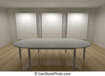 3d gallery with frames and meeting table