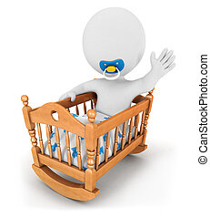 3d white people baby in cradle, isolated white background,...