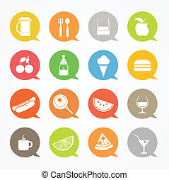 Food web icons set in color speech clouds