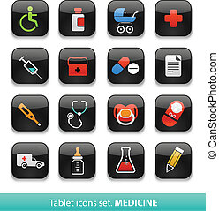 Medicine. Tablet buttons collection isolated on white