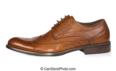Stylish brown leather mens lace up shoe - Side view of a...