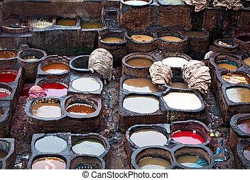 el, marroquí, cuero, Fábricas, antiguo, arte, medina, Fes