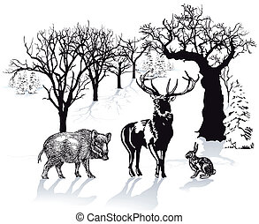 Deer, wild boar and rabbit in winter landscape