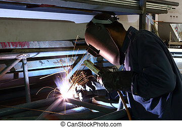 welding - Worker welding iron frame structure