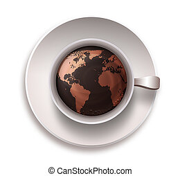 coffee cup with a world map