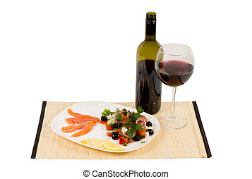 Healthy gourmet meal of sliced salmon