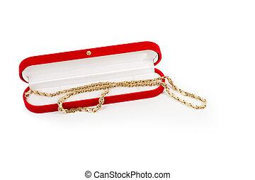 Golden elegant necklace in a red box - Golden elegant...