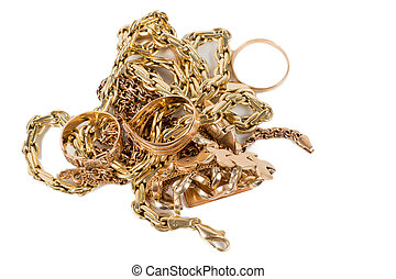 Pile of gold jewellery including chains, necklaces and rings...