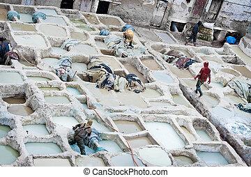 el, marroquí, cuero, Fábricas, antiguo, arte,...