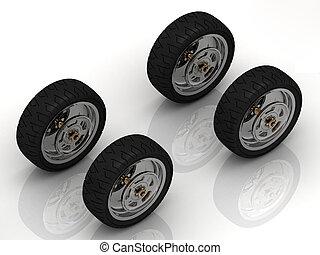 4 Black wheels of a bike