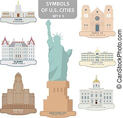 Symbols of US cities Set 3 Vector for you design