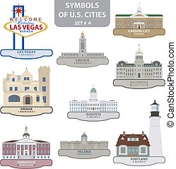 Symbols of US cities. Set 4. Vector for you design
