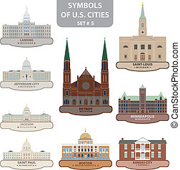 Symbols of US cities. Set 5. Vector for you design