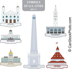 Symbols of US cities Set 7 Vector for you design