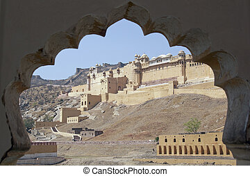Amber Fort - Imposing front facade of Amber Fort. Large...