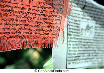 Buddhist Banners - Red and White - A couple of ceremonial...