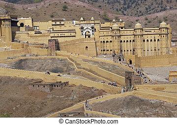 Amber Fort near Jaipur, Rajasthan, India. Large historic...