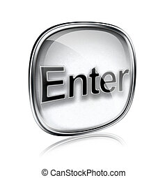 Enter icon grey glass, isolated on white background