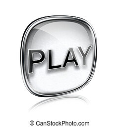 Play icon grey glass, isolated on white background