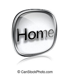 home icon grey glass, isolated on white background