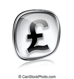 Pound icon grey glass, isolated on white background