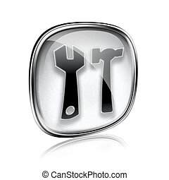 Tools icon grey glass, isolated on white background.
