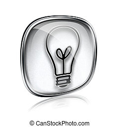 Light bulb Icon grey glass, isolated on white background