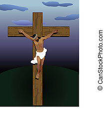 Jesus Christ on Cross - Vector Illustration of Jesus Christ...