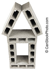 Isolated Construction Blocks - Home - High angle view of...