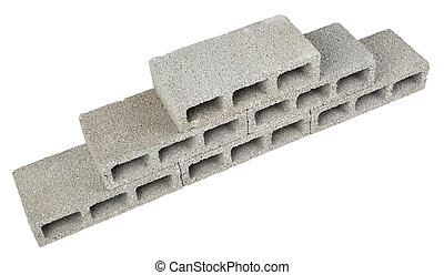 Construction Blocks Pyramid - Six gray concrete construction...
