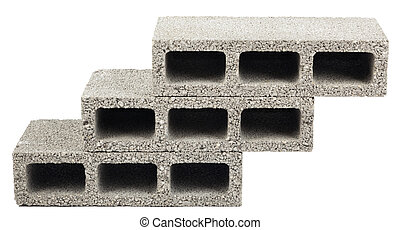 Isolated Construction Blocks - Three - Three gray concrete...