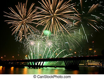 Firework Festival - Firework festival at Singapore with the...