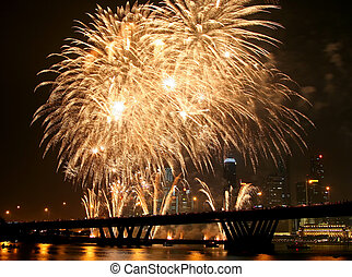 Firework Display - Firework festival at Singapore with the...