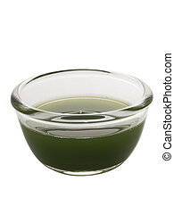 pandan juice - close up of a bowl of pandan juice isolated