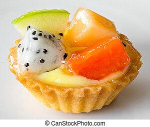 Fruit tart isolated on white