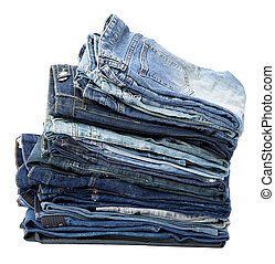Isolated Jeans Stack - A stack of various pairs of jeans...