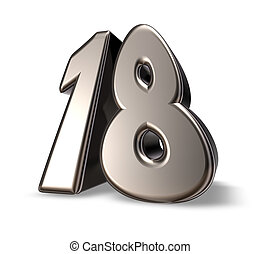 number eighteen - metal number eighteen on white background...