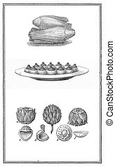 Kitchen and recipes of the past:salad, artichoke in section,