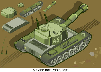 isometric tank in rear view - Detailed illustration of a...