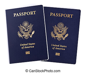 Isolated American Passports - Two USA passports Isolated on...