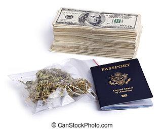 Drug Trafficking Pays Well - A USA passport, a zip-lock...