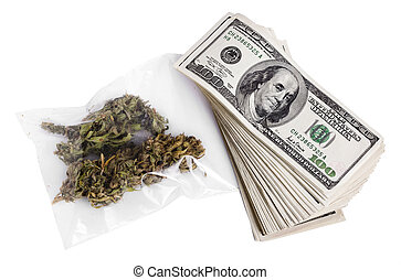 Marijuana and Cash - A zip-lock plastic bag containing...