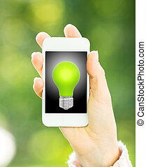 Smart phone with light bulb