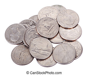 Pile of Quarters - A pile of 25 US cent quarter coins...