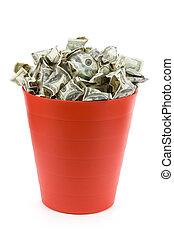 dólares, vermelho, Lixo, lata