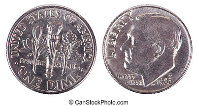 Isolated Dime - Both Sides Frontal - Two sides of a USA 10...