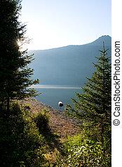 Morning on mountain lake
