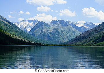 Mountain lake and glaciers - Multa lake on Altai mountains