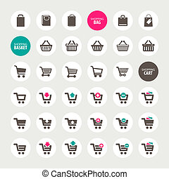Set of shopping icons - Set of shopping cart, basket and bag...