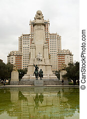 Miguel de Cervantes statue in Madrid Spain square